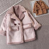 儿童装女童男童加绒外套韩版加厚麂皮绒大衣2018新款冬装潮F163 K