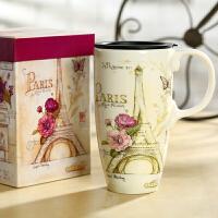 Evergreen爱屋格林创意马克杯大容量水杯子陶瓷杯礼盒装咖啡杯美式风格 手绘手柄 大容量 精美礼盒装