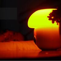 小夜灯创意 伴睡灯闹钟变色小夜灯USB充电led变色氛围灯蘑菇灯 白色外观