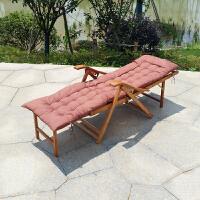 竹躺椅阳台家用休闲实木折叠懒人午休午睡床老人靠背凉椅子多功能 +长坐垫