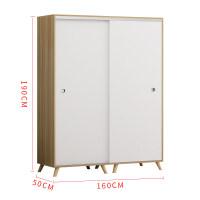 简约现代简易衣柜推拉门经济型实木家具定制卧室出租房组装柜 并安装 2门 组装