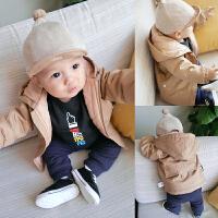 婴儿女童外套秋冬装儿童新生儿新款中小童男童宝宝休闲连帽上衣潮