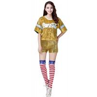 演出服女现代舞青春舞蹈服啦啦操爵士男亮片嘻哈街舞舞台套装 黄色 短裤套装
