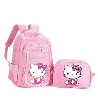 哈喽kitty书包小学生小孩女童kt猫书包女孩1-3年级女生小米书包 大号粉色kt猫套装 1-3年级