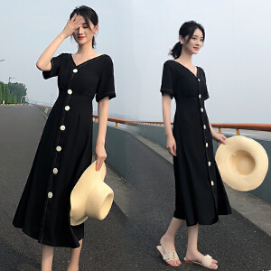 【优质面料】80-150斤可穿 S-3XL包容各种身材 2018夏装新款女装赫本V领黑色长裙冷淡风复古大码显瘦雪纺连衣裙