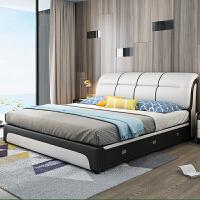 真皮床主卧榻榻米床现代简约双人1.8米储物婚床小户型1.5米单人床 +5D乳胶床垫+三抽屉 1800mm*2000mm