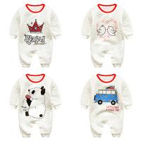 婴儿连体衣服冬季宝宝0岁3月新生儿可爱冬装加厚睡衣外出服