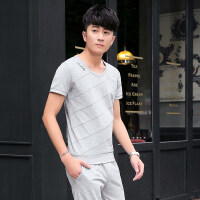 运动套装男夏季短袖T恤长裤两件套休闲服饰夏天跑步休闲运动服装 花灰色 3XL