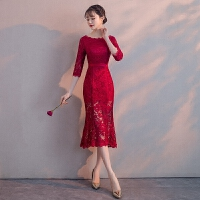 敬酒服新娘春季2018结婚新款韩版红色性感修身礼服女中长款鱼尾裙