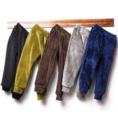 冬季中大童加厚宽松长裤男孩外穿运动裤儿童男童加绒裤子