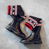 女童雪地靴2017冬季新款童装高筒靴针织弹力针织五角星过膝长靴