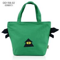 帆布小包便当包饭盒袋学生带饭包手提袋饭盒包妈咪手拎包 绿色 拉链OD15B-02