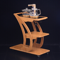 竹茶车移动带轮茶柜实木电磁炉茶台茶具茶水柜茶桌小茶几茶道配件 茶车+电磁炉C款+送面板