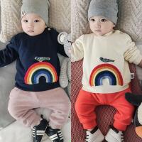 男童冬季女宝宝加绒卫衣0一1-2岁3婴儿加厚保暖上衣服6-12个月9潮