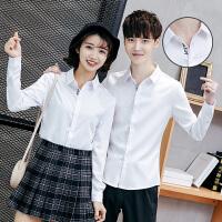 春季新款韩版刺绣长袖衬衫青年情侣餐厅员工服男士修身寸衣女制服