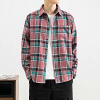 春季新款长袖衬衫帅气上衣服男士格子百搭青少年衬衣潮