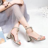 夏季凉鞋女小清新蝴蝶结粗跟绑带露趾高跟鞋女鞋