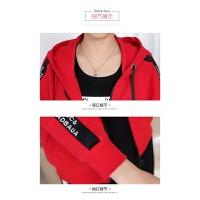 时尚妈妈套装三件套春秋季休闲运动服女中年连帽卫衣361运动套装 糖果红 质量保证