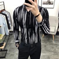 2018春季潮男士韩版修身条纹长袖衬衫型男青年英伦发型师休闲衬衣
