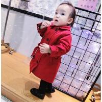 冬季婴幼儿童宝宝翻领双排扣风衣系腰带加长款外套冬款0-5
