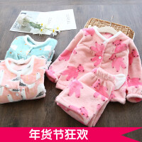 柔软~女童珊瑚绒家居服 2017冬装新款韩版儿童宝宝卡通加厚睡衣
