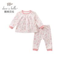 davebella戴维贝拉2017秋季新款女童套装 女宝宝粉色印花内衣套装