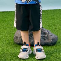 【2件3折价:49】小猪班纳童装男童运动裤短裤黑色2020春夏新款幼童儿童五分裤速干