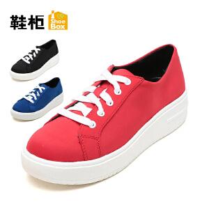 【达芙妮集团】鞋柜 简约春秋系带单鞋女鞋休闲厚底松糕鞋