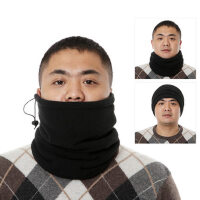 户外抓绒围脖双层保暖脖套男女多功能头套围巾运动防风帽