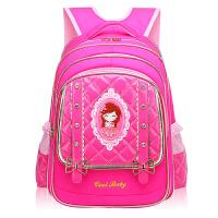 儿童书包女1-3-6年级小学生书包女孩pu皮黑色公主背包女童双肩包4 粉色小号 (建议1-3年级)