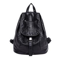 2018新款双肩包女韩版休闲时尚软皮妈咪背包校园书包抽带水桶包潮 黑色