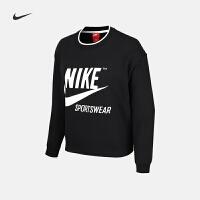 Nike耐克新款女子舒适运动休闲圆领卫衣套头衫AJ7369-010