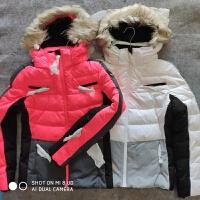 女款滑雪服防风防水透气户外登山冬季保暖冲锋衣新品 玫红灰拼色