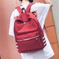 书包男女韩版学院风街头时尚潮流背包高中初中学生休闲旅行双肩包 酒红色
