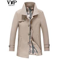 花花公子贵宾 秋季新品男士商务休闲风衣中长款外套夹克男装