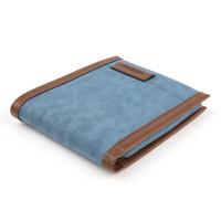 帆布钱包男士短款潮男款日韩版创意钱夹青少年个性零钱包青年学生 天蓝色横款