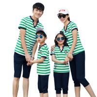 夏季休闲男短袖条纹7分裤家庭装情侣款跑步套装学生班服