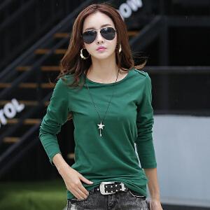 新款韩版纯色百搭长袖女装t恤 春秋修身显瘦纯棉女士T恤衫