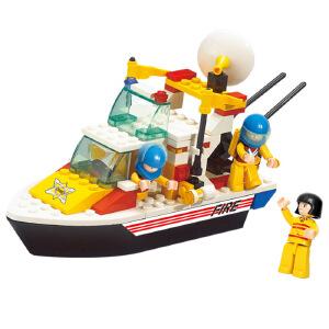 【当当自营】小鲁班模拟城市系列儿童益智拼装积木玩具 119消防中心-救援艇M38-B3600