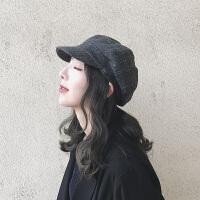 贝雷帽女秋冬英伦画家帽子男时尚韩版鸭舌帽女日系格子八角帽
