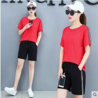 户外新品运动套装女网红同款新款时尚宽松休闲大码跑步服短袖短裤纯棉两件套
