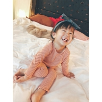 儿童睡衣女秋季套装内搭冬条纹女宝宝长袖家居服