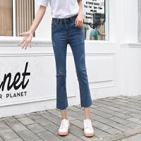 牛仔裤女新款高腰复古宽松ins超火的直筒阔腿九分微喇叭