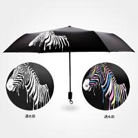 三折黑胶伞创意折叠遮阳伞遇水变色斑马晴雨伞防晒防紫外线太阳伞
