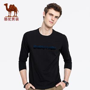 骆驼男装 2018秋季新款青年时尚圆领植绒印花上衣休闲长袖t恤男