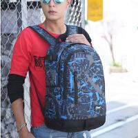 双肩背包男韩潮书包中学生女电脑包大容量防水旅行包 迷彩蓝色 1085
