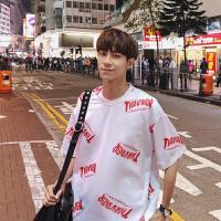 男士短袖2018新款夏季潮流T恤韩版上衣圆领男装学生嘻哈港风体恤