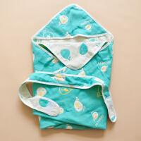 六层宝宝纱布浴巾带帽 新生包被盖毯外出抱毯