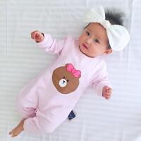 婴儿连体衣服冬季0岁6个月冬装新生儿宝宝可爱童童睡衣新年
