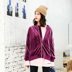 七格格棒球服女生春季装新款韩版学生宽松bf原宿风丝绒刺绣外套秋潮